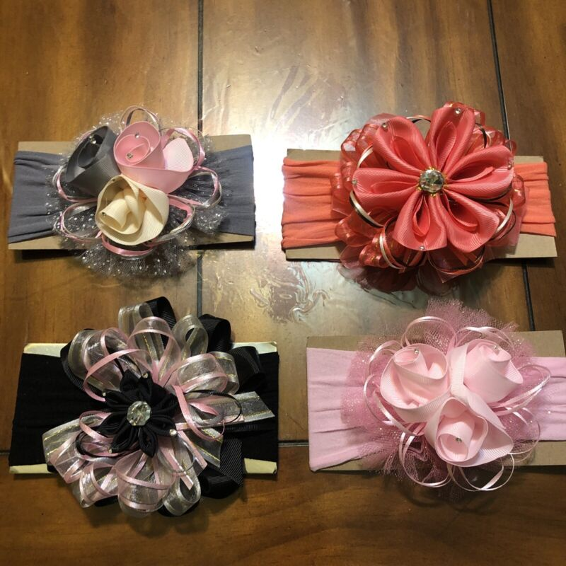 lot Of 4 handmade Lace Head Bands For Babys Girls Party Casual Wear Baby