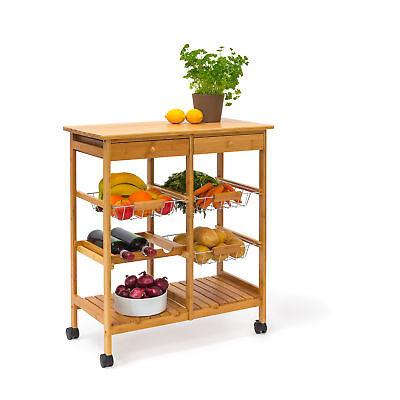 Küchenrollwagen JAMES XXL Servierwagen Küchentrolley Rollwagen Küchenwagen Holz