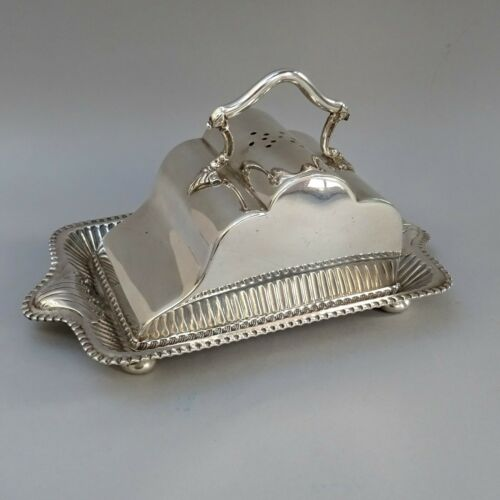 Ornate Antique Silver Plated Cheese Dish ~ Walker & Hall ~ Victorian / Sheffield