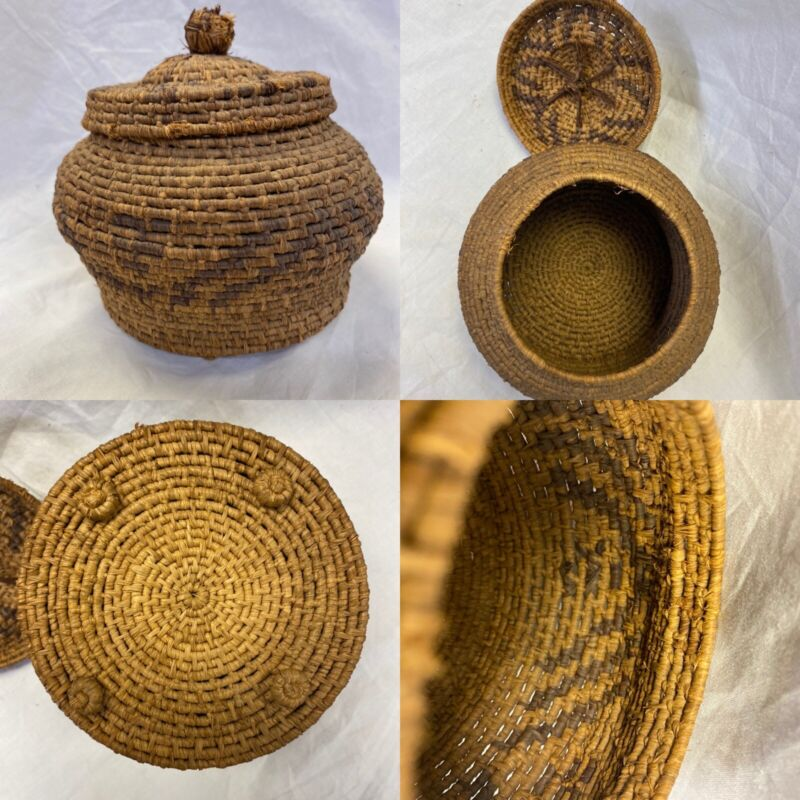 ANTIQUE SUPER FINE WEAVE INDIAN Lidded & Footed BASKET ~19th c ~Beautiful