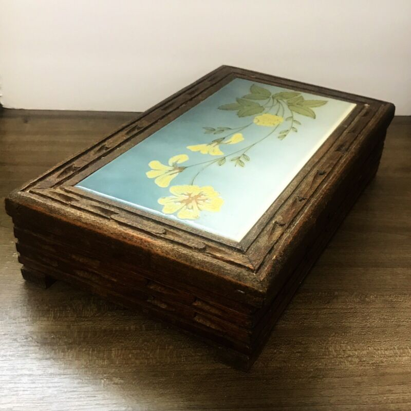 MEXICAN TILE CARVED WOODEN BOX VINTAGE