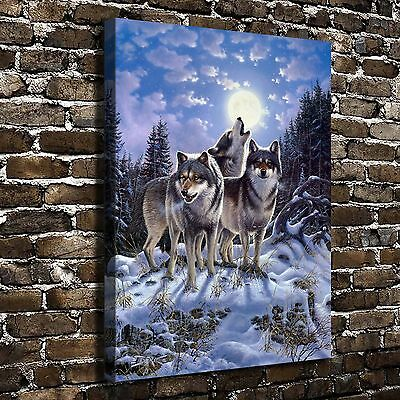 Midnight Watcher Wolf Animal Painting HD Print on Canvas Home Decor Art Pictures](Animal Print Decor)