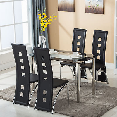 5 Piece Dining Set Glass Top Table and 4 Leather Chair for Kitchen Dining -