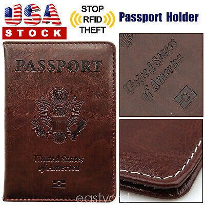 Synthetic Leather Passport Cover Protector ID Card Case Travel Wallet Brown