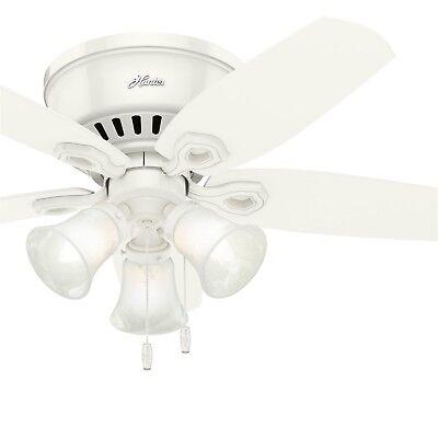 Hunter Fan 42 inch Low Profile Snow White Ceiling Fan w/ Light & Remote Control