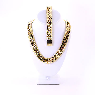 Mens Large Thick 14K Gold Plated Miami Cuban Chain And Bracelet Set JayZ Hip Hop (Hip Hop Gold Chain)