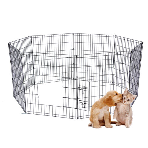 """24"""" 8 Panel Dog Playpen Crate Fence Pet Play Pen Exercise Puppy Kennel Cage"""
