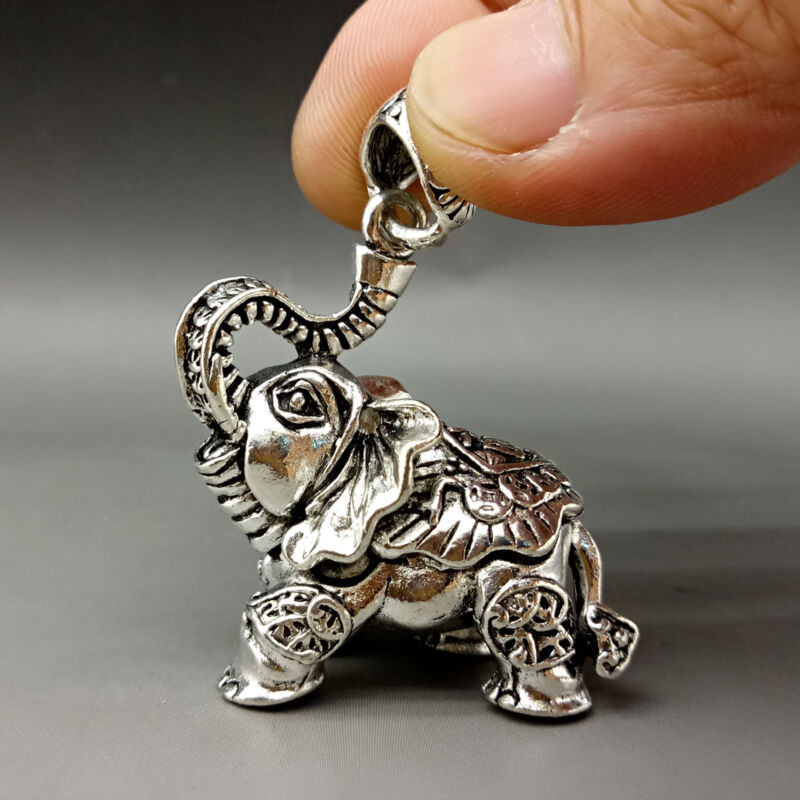 Asian Collectable Tibet Silver Hand Carved lucky coin Elephant Pendant
