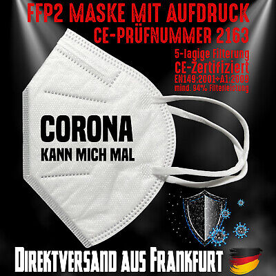 FFP2 Atemschutzmaske Mundschutz Mundmaske CE 2163 Corona kann mich mal