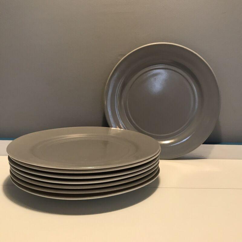 """VTG Gray Dinner Plates Hazel Atlas Platonite Ovide Set Of 8 Milk Glass 9"""""""