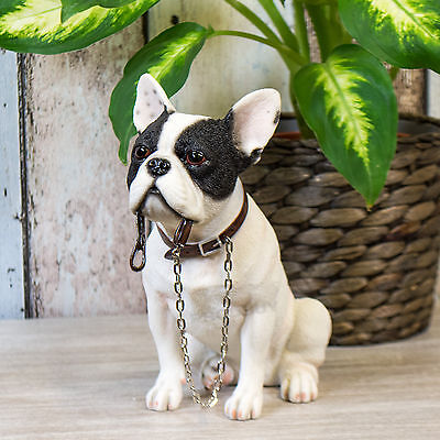 Sitting White French Bulldog Ornament Figurine Statue Home Decor Object Item