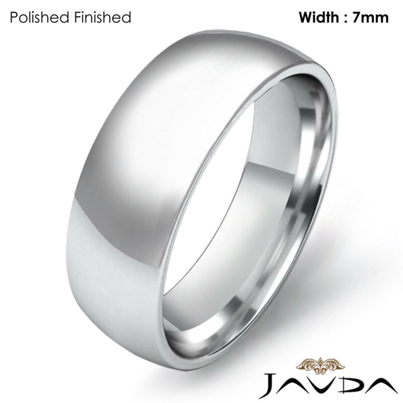 Men Wedding Band Plain Dome Comfort Light Ring 7mm 18k Gold White 9g Size 8-8.75
