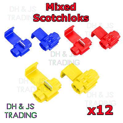 12 Mixed Scotchlock Wire Connectors Scotchlocks Splice Terminal Crimp Scotchlok
