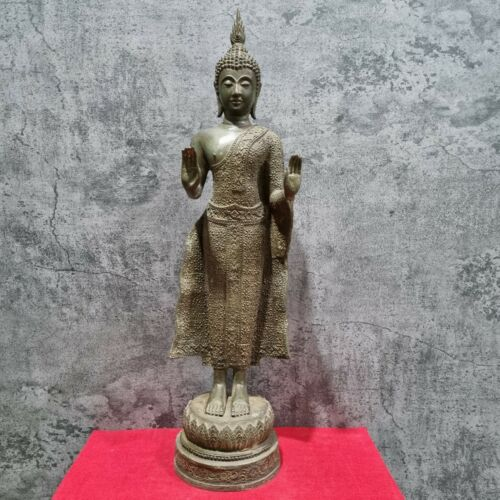 """23.4"""" Flower Dressed Thai Antique Standing Buddha Statue Large Pacifying Posture"""