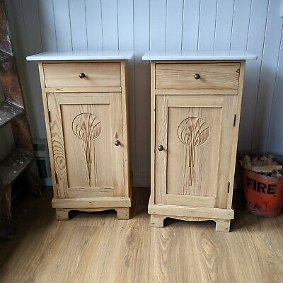 Antique Marble Topped Bedside Cabinets