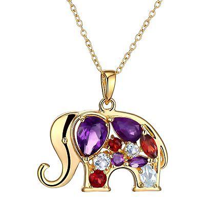 1 1/2 ct Multi-Gem & Diamond 18K Gold Flashed & SS-Plated Brass Elephant -