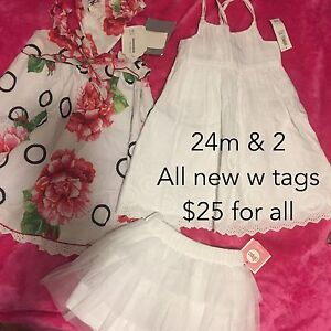 24m and size 2 new w tags girl dresses and skirt