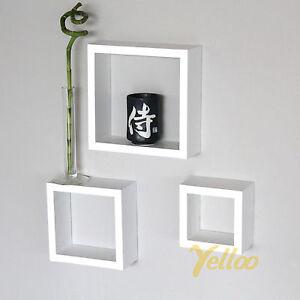 Set 3 cubi mensole legno bianco mensola cubo design for Mensole per quadri