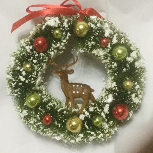 Bottle Brush wreath with Deer Christmas Tree Ornament