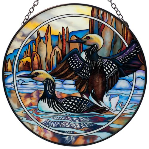 "Loons ""Forever Wild"" Hand Painted Glass Suncatcher By AMIA Studios 6.5"" New"