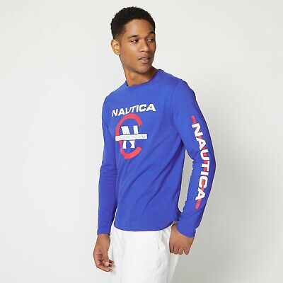 Nautica Men's COMPETITION LONG SLEEVE GRAPHIC TEE Bright Blue M item #VR0144