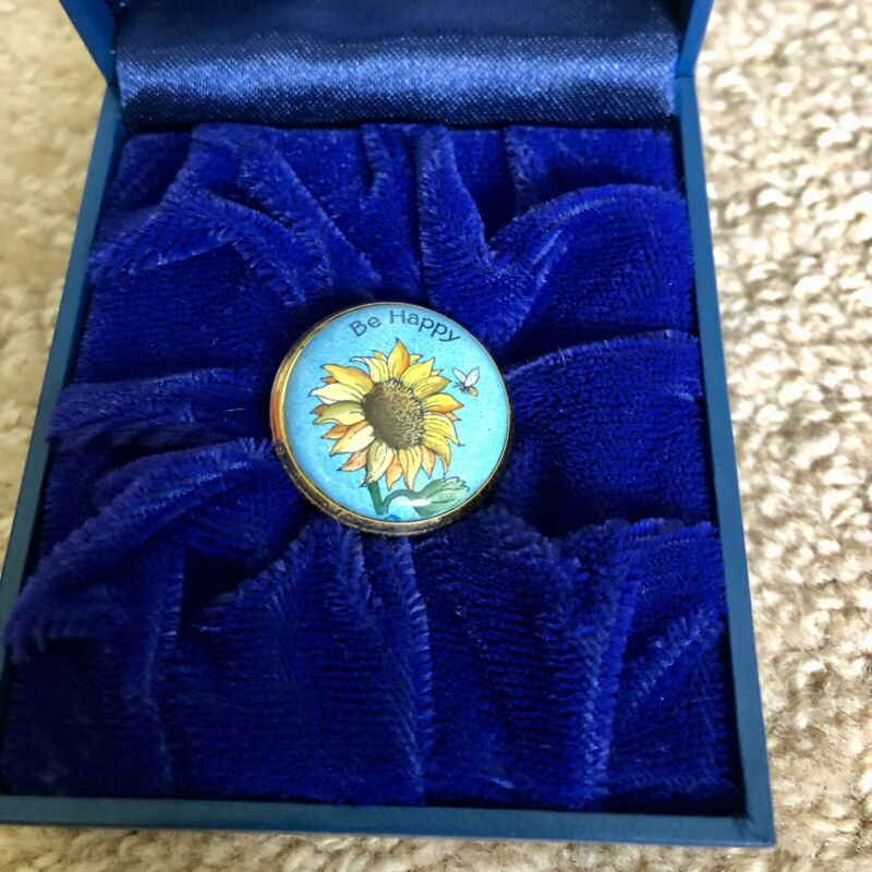 "HALCYON DAYS, SUNFLOWER AND BEE, ""BE HAPPY"" ENAMELED PILL BOX"