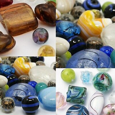 (HOT 1//4 Pound Mixed Colors Assorted Lampwork Glass Beads WHOLESALE Bulk Lot)