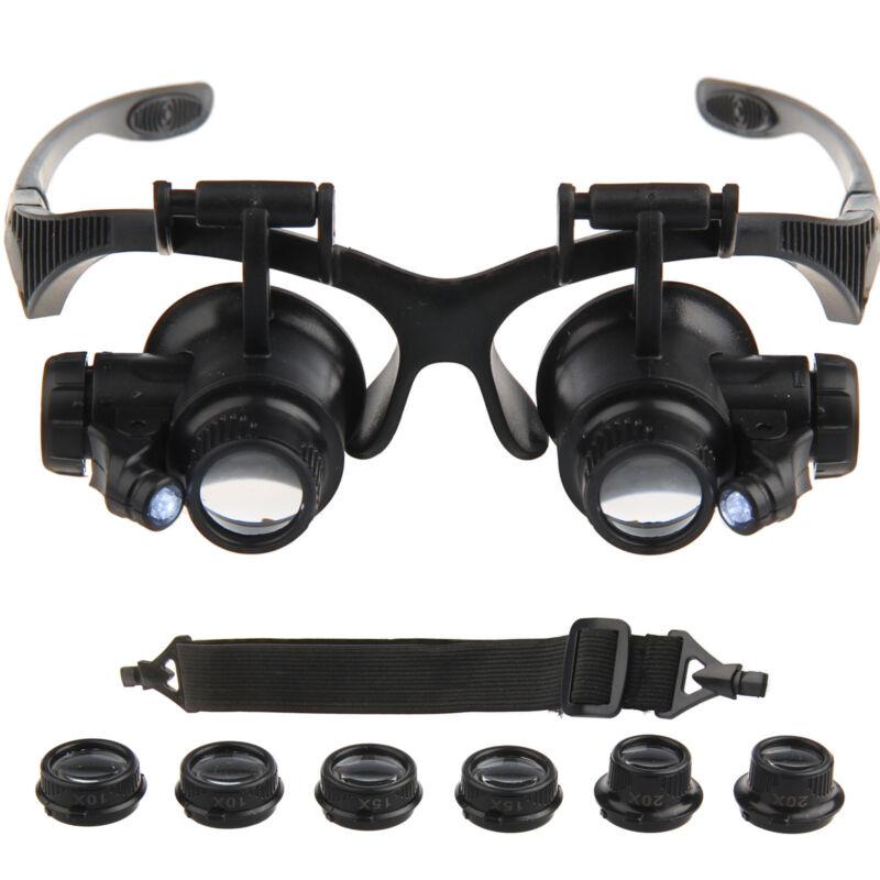 10/15/20/25X Brille Lupenbrille LED Vergrößerungsglas Lupen Uhrmacher Juwelier