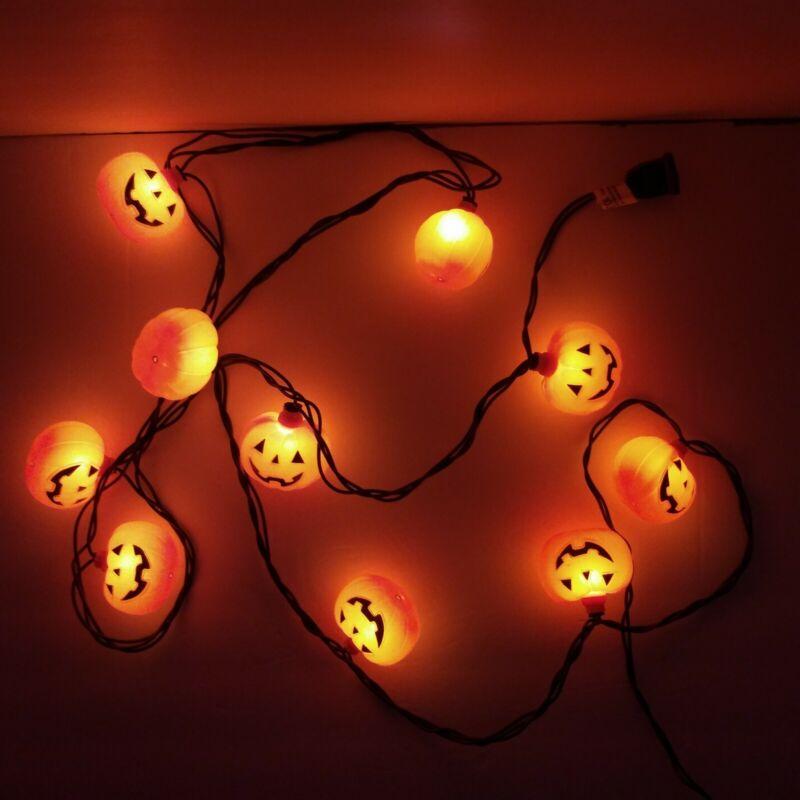 Pumpkin Jack O Lantern Blow Mold String Lights 10 Halloween Prop Decor Orange
