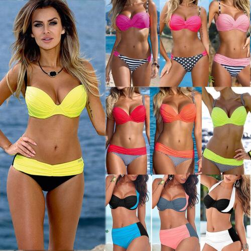 Damen Bikini Set Bademode Push Up Gepolstert Zweiteiligen Badeanzug Schwimmanzug