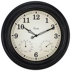 27915 Equity by La Crosse 15.5 Indoor/Outdoor Analog Wall Clock Temp/Humidity