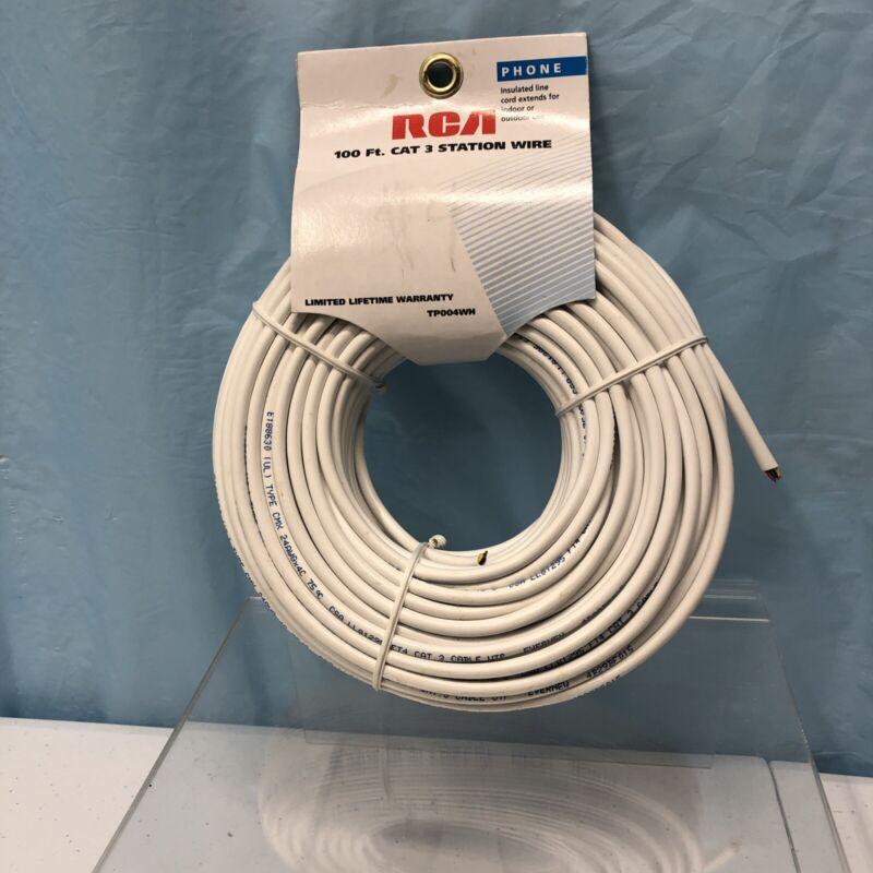 RCA Rj11 Telephone Cable 100 Ft White Round Line Cord Plug