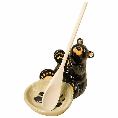 Big Sky Carvers Bearfoots Black Bear Ceramic Spoon Holder Spoon Rest