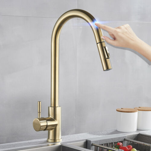 Brushed Gold Kitchen Sensor Sensitive Touch Control Tap Kitchen Sink Faucet