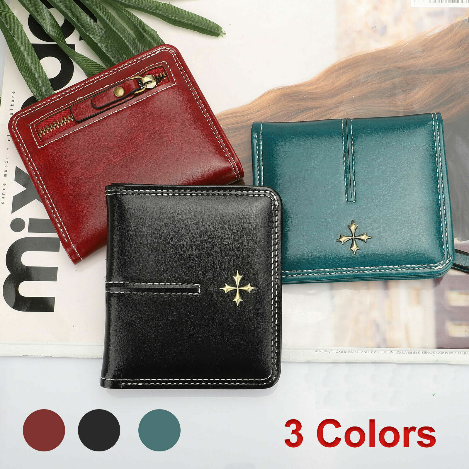 Women Leather Wallet Pockets ID Credit Card Holder Clutch Bifold Mini Purse US Clothing, Shoes & Accessories