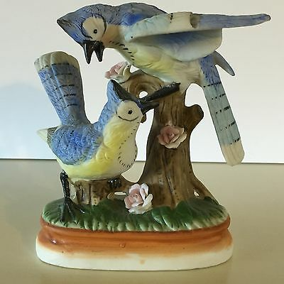 Vintage Pair of Blue Jays Figurine Porcelain Bisque 6""