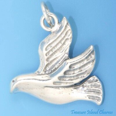 Flying Dove Peace Symbol Bird .925 Solid Sterling Silver Charm Pendant USA MADE