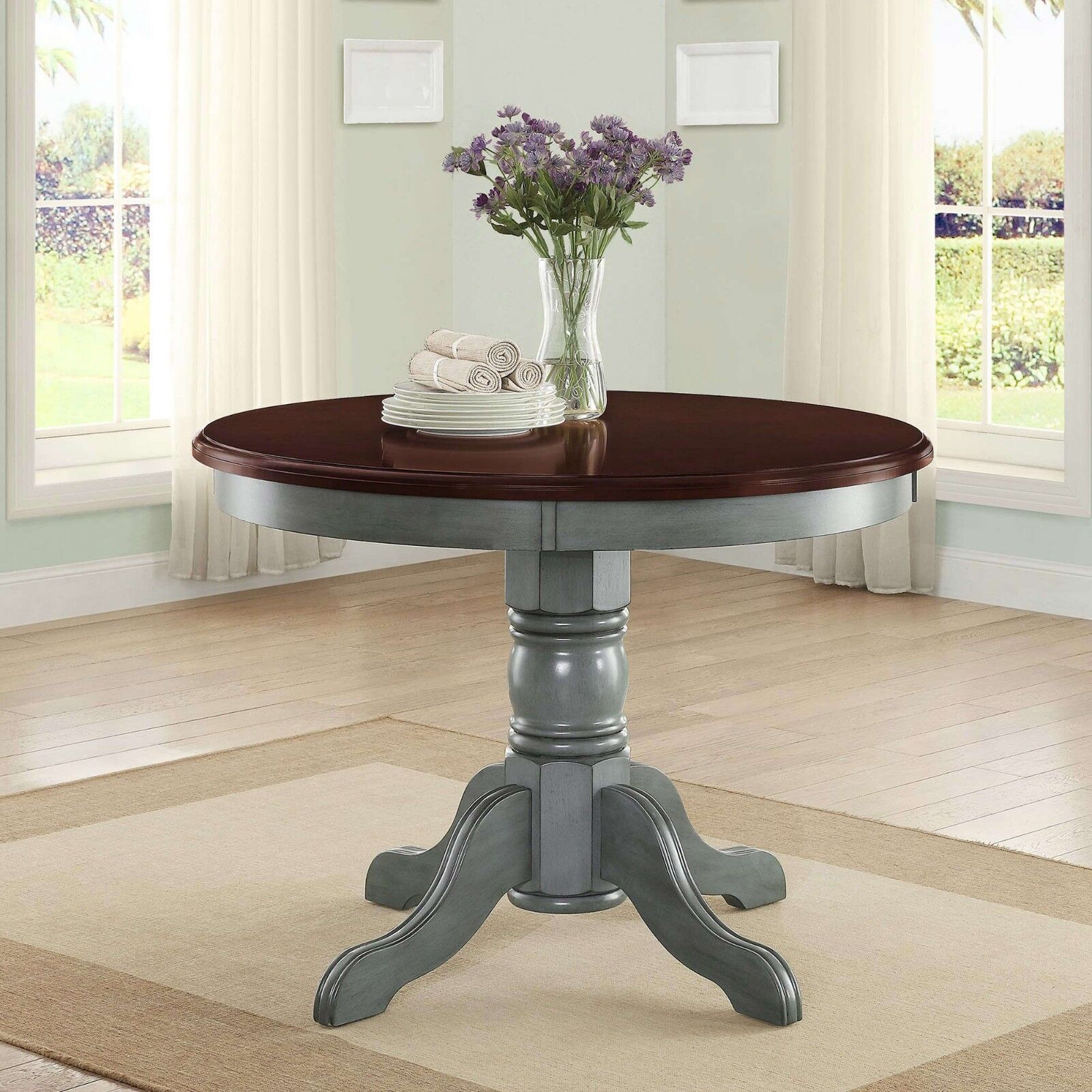 Image of: Round Dining Table Farmhouse Country Kitchen French Farm Furniture 42 Inch Sage 619775414884 Ebay