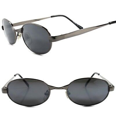 Classic True Vintage 80s 90s Urban Fashion Mens Gunmetal Rectangle Sunglasses