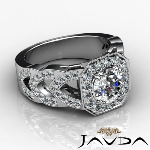 Round Diamond Engagement Splendid Halo Pave Ring GIA F VS2 14k White Gold 2.78ct 2