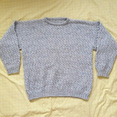 Vintage Wool Grey Handmade Thick Cable Knit Womens Jumper Size XL UK 18