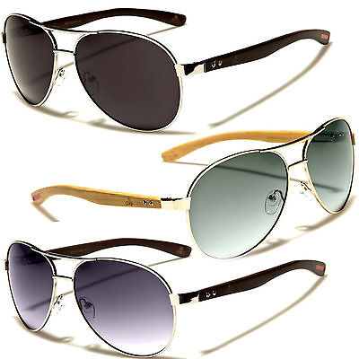 (Classic Retro Men Fashion Metal Wood Aviator Vintage Designer Sunglasses Black)