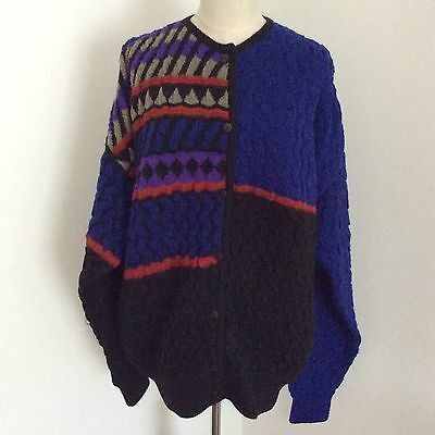 ISSEY MIYAKE Vintage Cardigan Sweater Knit Top  Geometric Pattern