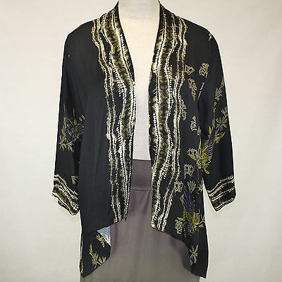 Citron Clothing Art To Wear Whimsical Butterfly 100%Silk Cardigan Blouse Plus 2X](Whimsical Clothing)