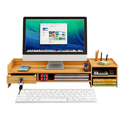 Computer Monitor Stand Riser Wood Office Pen Holder Desktop Tray Desk Organizers