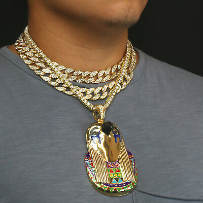 14k Gold Plated Pharaoh Horus Bird god Pendant with 3 fully Cz Chains Bundle Set Bird Pendant Gold Plated Jewelry