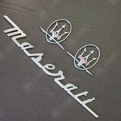 3PC SET Chrome Red Emblem For Maserati RH & LH Side Trunk Logo Badges Nameplate