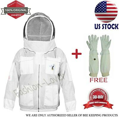 Beekeeping Anti Bee 3 Layers Suit Protective Costume Jacket Coat Hood White Xl