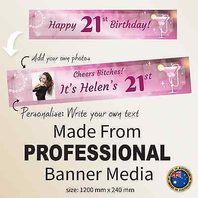 Custom 21st Happy Birthday Pink Canvas Gift Idea Party Banner Decorations