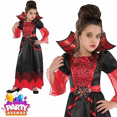 Girls Halloween Vampire Queen Fancy Dress Costume Vampiress Outfit